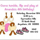 8 Personalized Gym Gymnastics Girl Birthday Invitations
