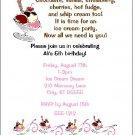 8 Personalized Ice Cream Sundae Party Birthday Invitations