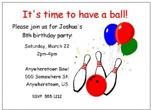 8 Personalized Bowling Party Birthday Invitations