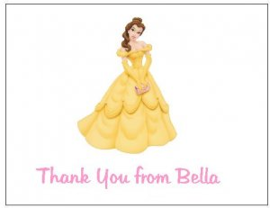 8 Personalized Disney Princess Belle Thank You Cards / Note Cards