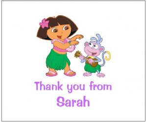 8 Personalized Dora the Explorer Hula Thank You Cards / Note Cards