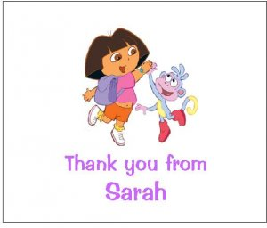 8 Personalized Dora the Explorer and Boots Thank You Cards / Note Cards