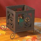 RUSTIC METAL JACK O LANTERN CANDLE BOX HALLOWEEN