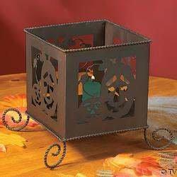 RUSTIC METAL JACK O LANTERN CANDLE BOX HALLOWEEN