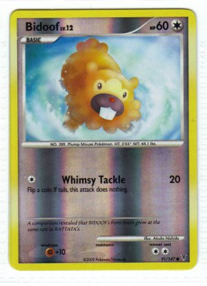 Pokemon Card Platinum Supreme Victors  Rev Holo Bidoof 91/147