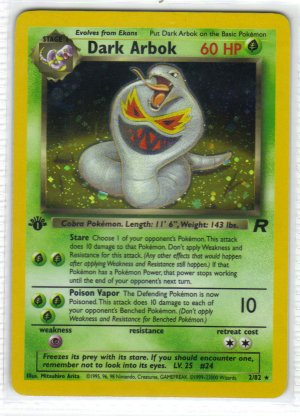 Pokemon Card Team Rocket Holo Dark Arbok 2/82