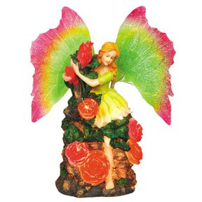 Fairy Statue With Red Roses And Moving Wings