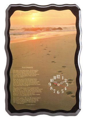 Beautiful Footprints Quartz Wall Clock NEW NIB