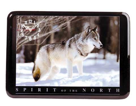 Beautiful Timber Wolf Clock NEW NIB