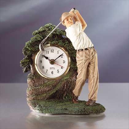 Alabastrite Swinging Golfer Clock NEW NIB