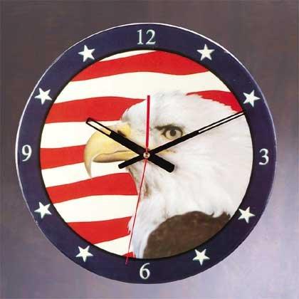 Patchwork Eagle American Flag Wall Clock NEW NIB