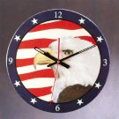 Patchwork Eagle American Flag Wall Clock NEW NIB