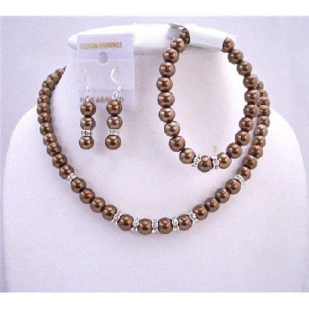 Bronze Brown Bridal Bridemaides Jewelry Set Complete Set w/ Stretchable Bracelet & Silver Rondells