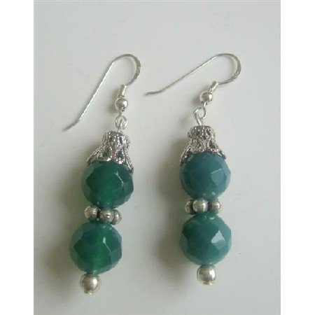 ERC369 Jade Faceted Round Bead Earrings w/ Bali Silver Sterling Silver Earrings