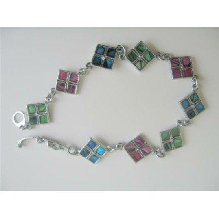 Abalone Shell Bracelet Embedded Abalone Beads In Sequare Box Bracelet