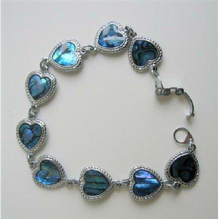 Heart Abalone Shell Bracelet Valentine Jewely Bracelet