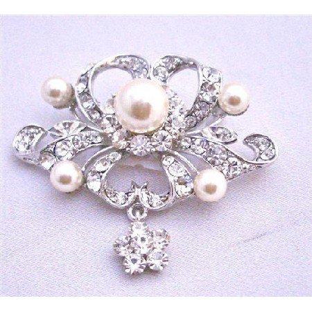 B262 Silver Brooch Fully Encrusted w/ Rhinestones Pearls & CZ Flower