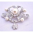 B262 Silver Brooch Fully Encrusted w/ Rhinestones Pearls & CZ Flower