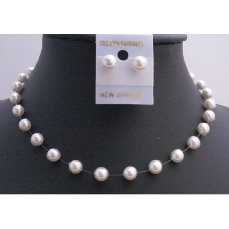Pure White Swarovski Pearls 8mm Necklace w/ Stud Earring Jewelry Set