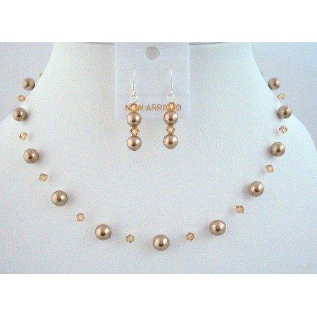 Customize Your Wedding Jewelry With Bronze Pearls Lite Colorado Swarovski Jewelry Set