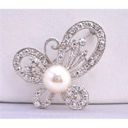 B194 Butterfy Brooch Fully Decorated w/ Cubic Zircon & Pearls In Center