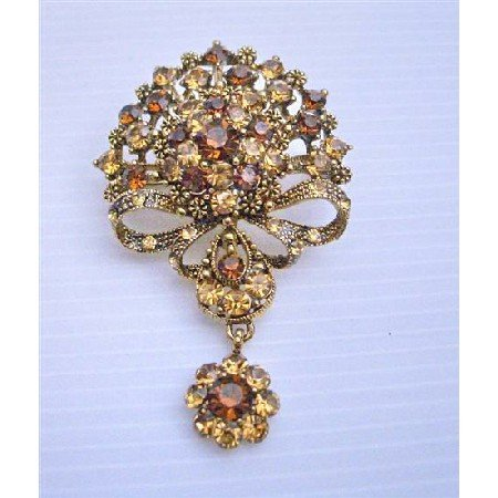 B160 Victorian Style Brooch COpper Brooch w/ Smoked Topaz & Lite Smoked Crystals Brooch