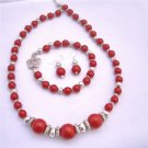Ethnic Traditional Coral Bali Silver Coral Round Beads Necklace Earrings and Bracelet