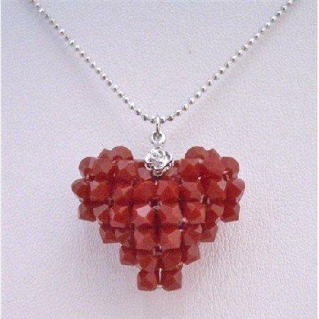 NSC677  Dark Red Puffy Heart Pendant Genuine Swarovski Crystals Hand crafted Heart Pendant Neckalce