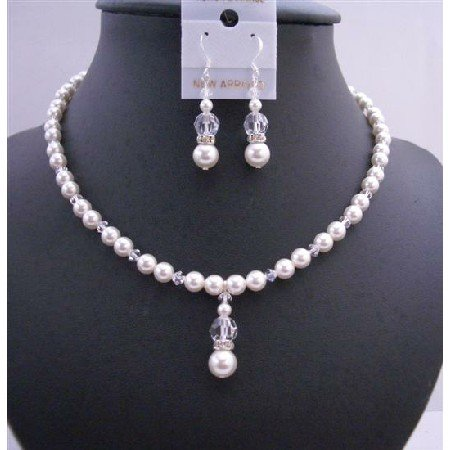 BRD679  Bridal Bridemaides Handmade Jewelry Set In White Pearls & Clear Crystals