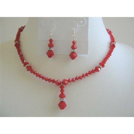 BRD595  Deep Red Coral Swarovski Crystals Necklace Set