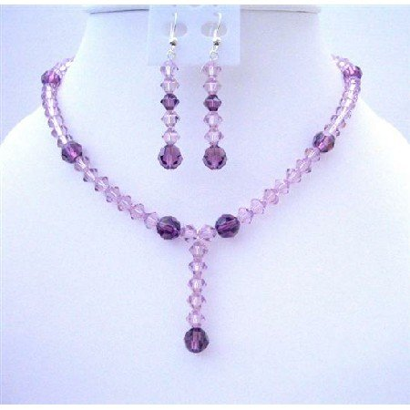 BRD416  Purple Swarovski Crystals Light & Dark Puprle Crystals w/ Drop Down Wedding Jewelry Set