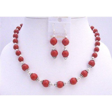 BRD700  Red Coral Beads Necklace Set w/ Bali Caps Beads Jewelry Set Coral 7mm & 9mm Necklace Set