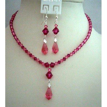 BRD338  Handcrafted Custom Bride Bridemaides Jewelry Genuine Swarovski Rose Pink