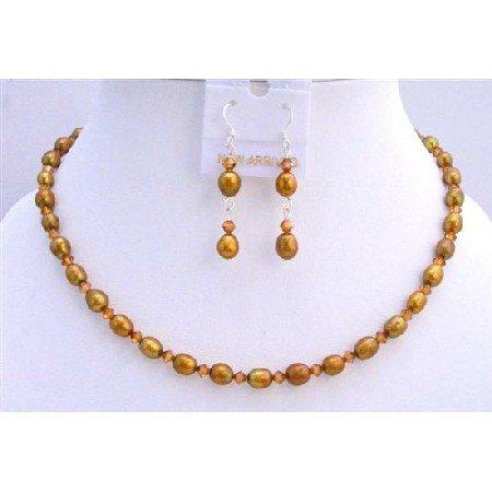 BRD698  Copper Freshwater Pearls Rice Shaped Pearls Jewelry Set w/ Genuine Swarovski Copper