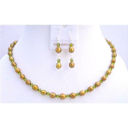 BRD699  Dyed FreshWater Pearls Olive Green w/ Swarovski Olive Green Crystals Handmade Jewelry Set