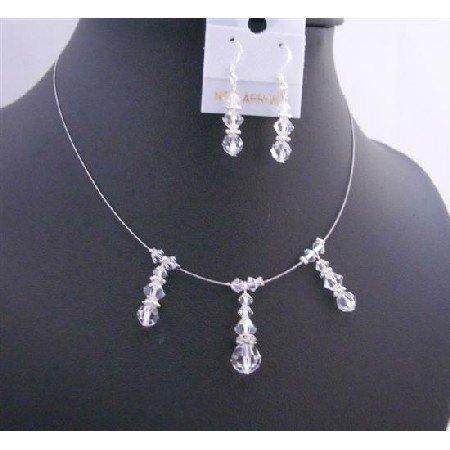 BRD676  Bridemaides Wedding Jewelry Necklace Set Handcrafted Your Jewelry w/ Swarovski Clear