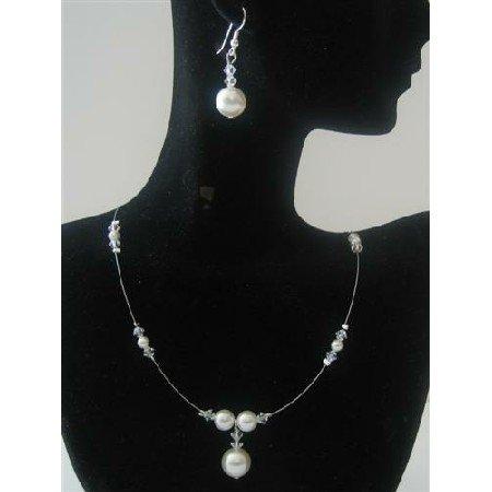 BRD479  Bridemaides Swarovski Clear Swarovski Crystals White Pearls Handcrafted Jewelry Set