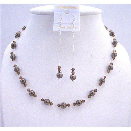 BRD613  Chocolate Pearls Jewelry Set Bridal Bridemaids Dark Chocolate Brown Pearls & Smoked Topaz