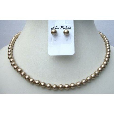 BRD345  Genuine Swarovski Pearls Necklace Set w/ Stud Pearls Earrings 6mm Pearls Jewelry