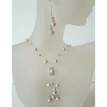 BRD350  Mauve & Pinkish Freshwater Pearls & Swarovski Crystals Necklace Set