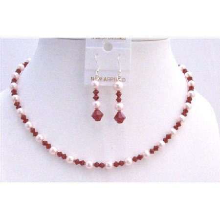 BRD746  Coral Red Jewelry Set Swarovski Coral Crystals & Rose Pink Pearls Necklace Set