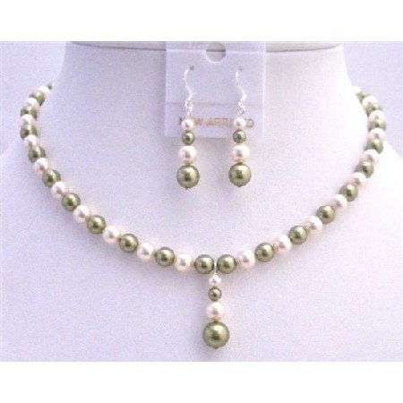 BRD798  Customize Pearls Jewelry Swarovski Green & Ivory Necklace w/ Drop Down