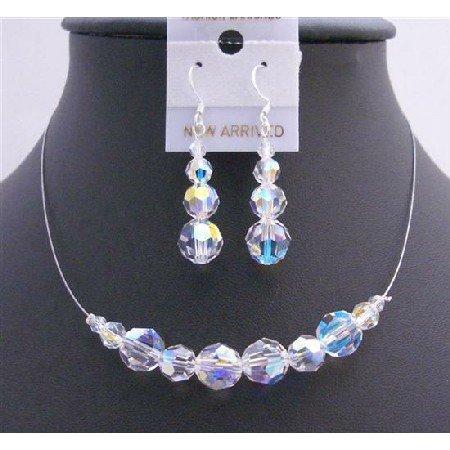 BRD712  AB Round Crystals Bridal Bridemaides Jewelry Set Genuine Swarovski AB Crystals