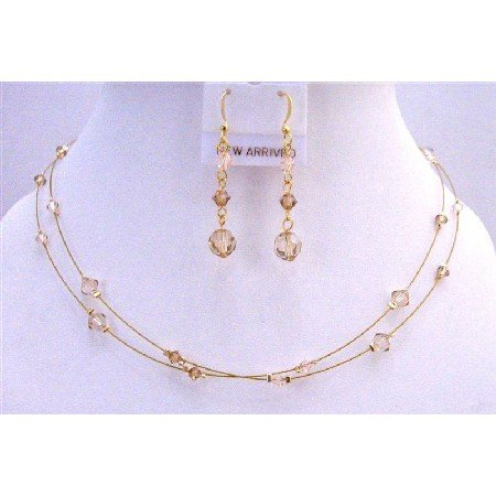 BRD789  Golden Wire Jewelry Set Golden Shadow Lite Colorado & Silk Crystals
