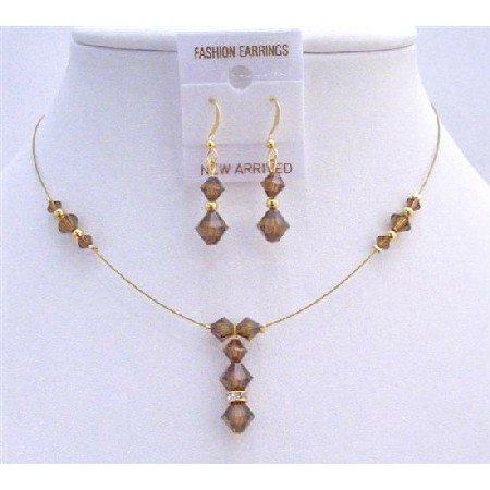 BRD794  Bridal Golden Jewelry Smoked Topaz Wedding Swarovski Crystal Drop Down