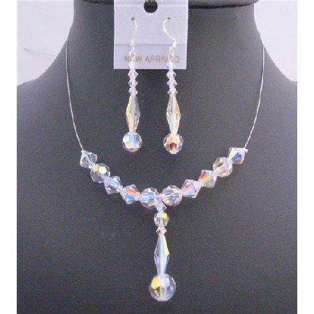 BRD710  Bridal Wedding AB Swarovski Crystals Drop Down Jewelry