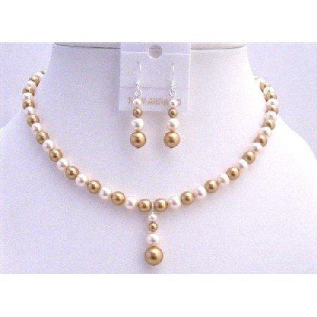 BRD797  Genuine Gold Pearls Jewelry Set Swarovski Gold Pearls