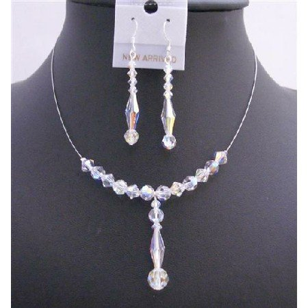 BRD709  Swarovski AB Crystals Bridal Wedding Necklace Set 6mm Bicone Round