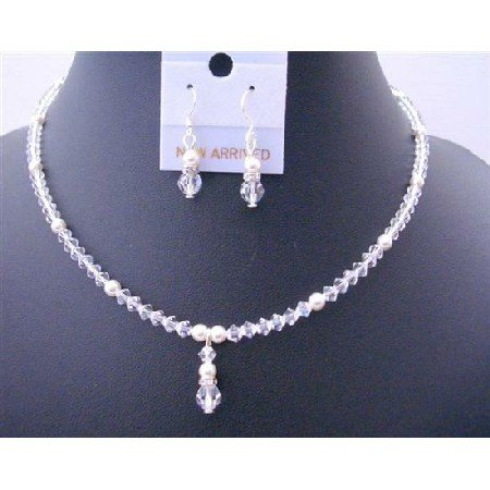 BRD447  Clear Swarovski Crystals White Pearls Flower Girls Drop Down Jewelry