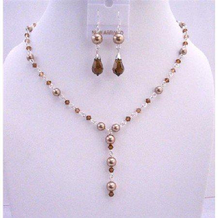 BRD655  Bridal Jewelry Bronze Pearls Smoked Topaz Crystals Handcrafted Custom Jewelry